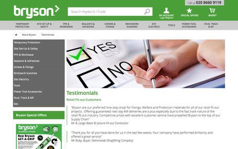Screenshot of Testimonials Page bryson.co.uk - Bryson Testimonials | Bryson - captured June 3, 2017