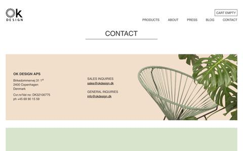 Screenshot of Contact Page okdesign.biz - Contact - OK Design - Home of the Acapulco Chair - captured Dec. 17, 2016