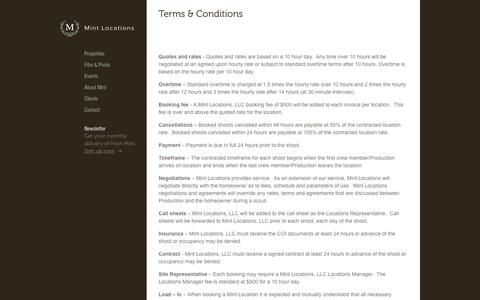 Screenshot of Terms Page mintlocations.com - Terms & Conditions | Mint Locations - captured Dec. 16, 2016