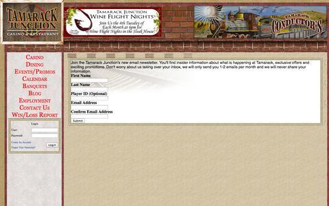Screenshot of Signup Page tamarackjunction.com - Tamarack Junction   Join our Newsletter - captured Oct. 27, 2014