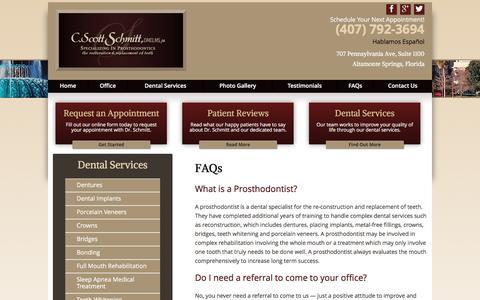 Screenshot of FAQ Page schmittprosthodontics.com - FAQs | Schmitt Prosthodontics - captured May 28, 2017