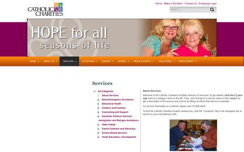 Screenshot of Services Page ccwny.org - Catholic Charities of Buffalo >> Services - captured Oct. 2, 2014