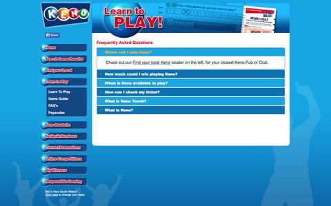 Screenshot of FAQ Page playkeno.com.au - Play Keno - How to Play | FAQs - captured Nov. 4, 2014