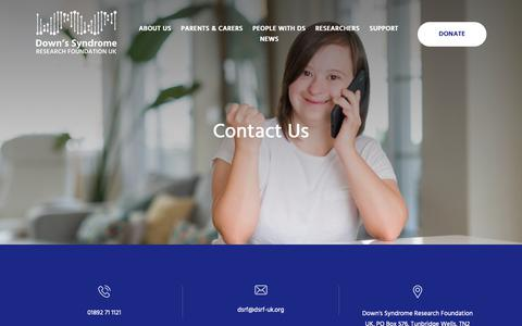 Screenshot of Contact Page dsrf-uk.org - Contact Us | Down Syndrome Research Foundation - captured Nov. 14, 2018
