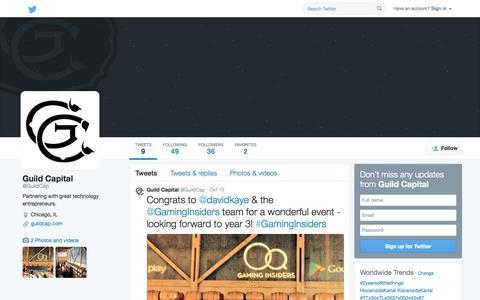 Screenshot of Twitter Page twitter.com - Guild Capital (@GuildCap) | Twitter - captured Nov. 2, 2014