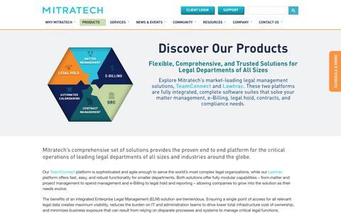 Screenshot of Products Page mitratech.com - End-to-end Enterprise Legal Matter Management Solutions | Mitratech - captured Oct. 2, 2014
