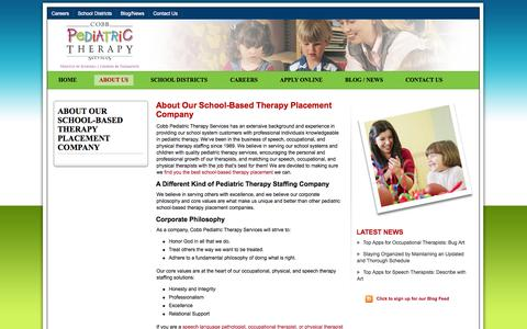 Screenshot of About Page cobbpediatric.com - Cobb Pediatric Therapy ServicesCobb Pediatric School Based Therapy Services Recruit for Speech Language Pathology Jobs in Alabama, Georgia & Across the US - captured Oct. 3, 2014