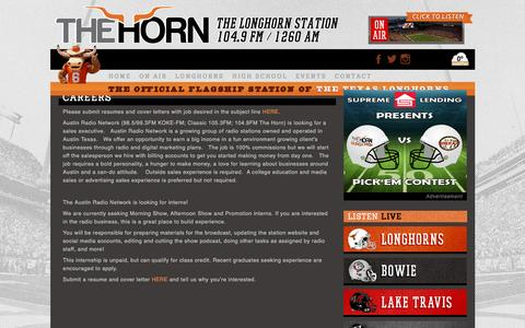 Screenshot of Jobs Page hornfm.com - Careers - The Horn  The Horn - captured Dec. 6, 2015