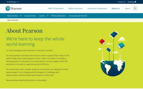 Screenshot of About Page pearson.com - About Us | Pearson - captured May 31, 2017
