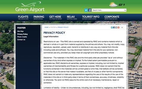Screenshot of Privacy Page pvdairport.com - Green Airport  |  Privacy Policy  |  PVD  |  Rhode Island - captured Oct. 26, 2014