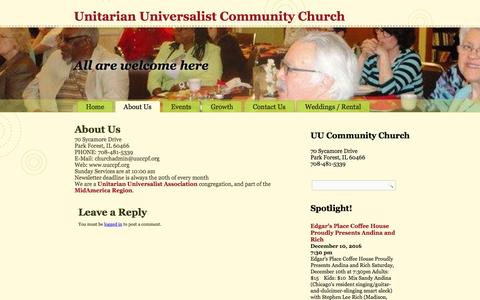 Screenshot of About Page uuccpf.org - About Us – Unitarian Universalist Community Church - captured Nov. 28, 2016