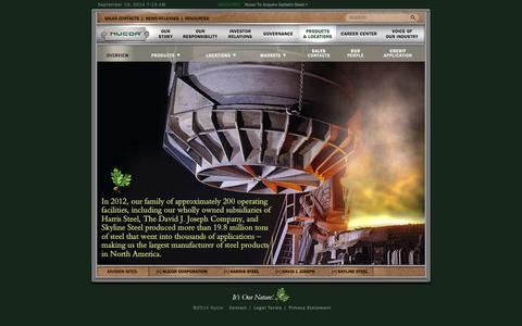 Screenshot of Products Page nucor.com - Nucor Corporation | Products & Locations | Overview - captured Sept. 19, 2014