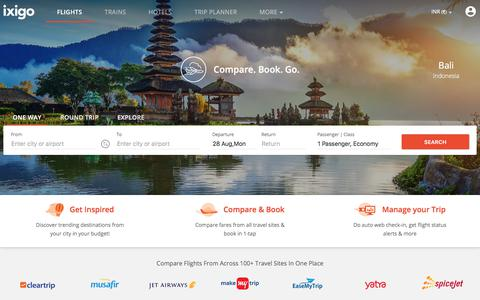 Screenshot of Home Page ixigo.com - ixigo - Flight Booking, Train Reservation, Hotels, Cheap Air Tickets - captured Aug. 28, 2017