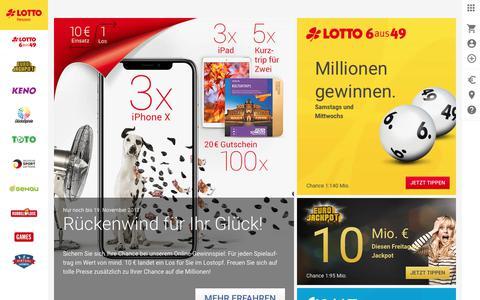 Screenshot of Home Page lotto-hessen.de - LOTTO Hessen - Spielen beim Original - captured Nov. 19, 2017