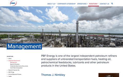 Screenshot of Team Page pbfenergy.com - Management – PBF Energy - captured Jan. 25, 2020