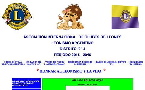 Screenshot of Home Page leonesdistritoo4.com - BIENVENIDOS AL CLUB DE LEONES DISTRITO O 4 - captured Sept. 2, 2015