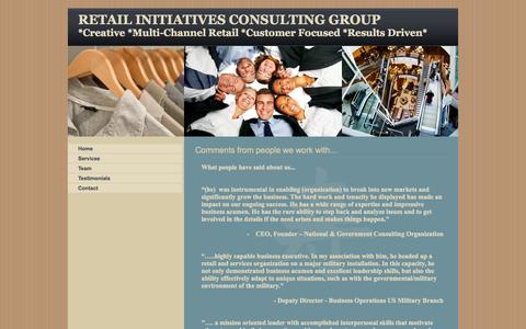 Screenshot of Testimonials Page retailinitiatives.org - Retail Initiatives Consulting, B2B, Specializing Multi-channel, Stores, Websites, Healthcare, Government, Business to Business, Testimonials - captured Oct. 9, 2014