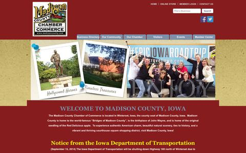 Screenshot of Home Page madisoncounty.com - Madison County Chamber of Commerce - Home - captured Oct. 3, 2014