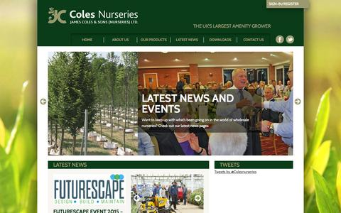Screenshot of Home Page colesnurseries.co.uk - Wholesale plants from Coles Nurseries - captured Jan. 22, 2016