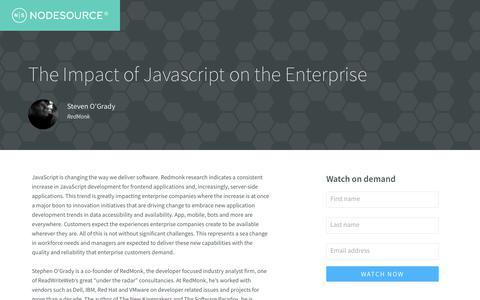 Screenshot of Landing Page nodesource.com - On demand: The Impact of Javascript on the Enterprise - captured Sept. 20, 2017