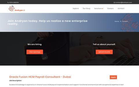 Screenshot of Jobs Page andryan.com - Contact Us, Andryan IT Solutions, Dubai, UAE - captured Nov. 12, 2018