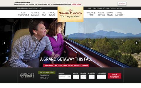 Screenshot of Home Page thetrain.com - Welcome to the Grand Canyon Railway | Grand Canyon Railway & Hotel, Arizona - captured Oct. 6, 2015