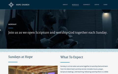 Screenshot of Services Page hope-pc.org - Hope Church |   Worship - captured Sept. 29, 2018