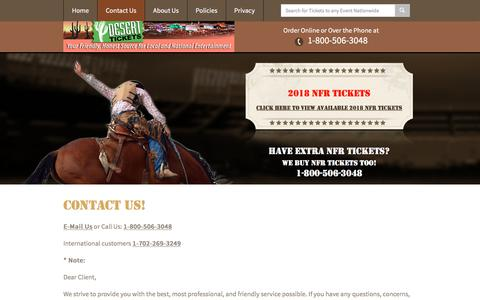 Screenshot of Contact Page deserttickets.com - NFR Las Vegas - Contact Us - 2018 National Finals Rodeo Tickets - captured March 12, 2018