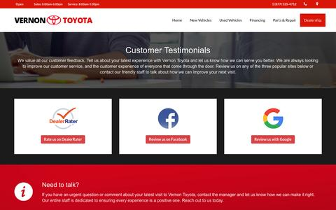 Screenshot of Testimonials Page vernontoyota.com - Real Customer Testimonials | Vernon Toyota Dealership Reviews - captured Aug. 12, 2016