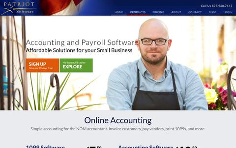 Screenshot of Products Page patriotsoftware.com - Patriot Software Products | Payroll Services and Accounting Software - captured Sept. 23, 2014