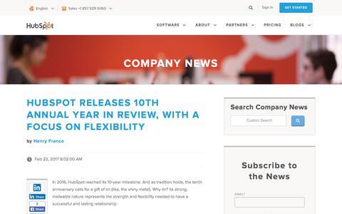 Screenshot of Press Page hubspot.com - HubSpot Company and Product Blog | Company News - captured June 2, 2017