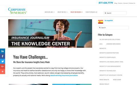 Screenshot of Blog corpsyn.com - Knowledge Center of Award-winning Insurance Journalism - captured Nov. 11, 2018