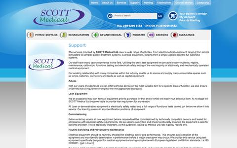 Screenshot of Support Page scottmedical.com - Scott Medical Support | physio supplies ireland - captured Oct. 3, 2014