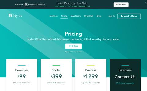 Screenshot of Pricing Page nylas.com - Nylas Cloud API Pricing | Email, calendar, and contacts pricing that scales with your business - captured Sept. 7, 2017