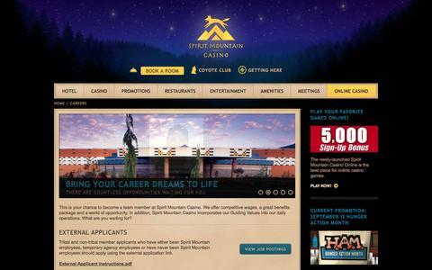 Screenshot of Jobs Page spiritmountain.com - Casino Careers & Employment | Spirit Mountain Casino in Oregon - captured Sept. 23, 2014