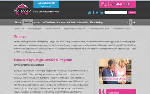 Screenshot of Services Page homecarebydesign.com - Services | Home Care & Personal Service Agency | Care At Home | Homecare by Design | West Lafayette - captured July 22, 2018