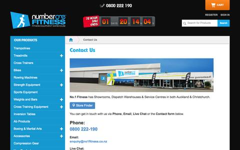 Screenshot of Support Page no1fitness.co.nz - Contact Us - captured Nov. 2, 2014
