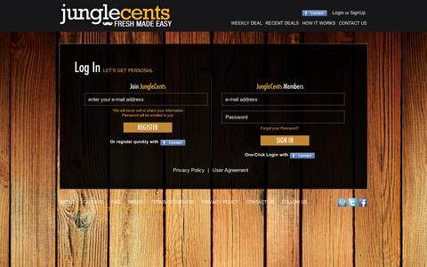 Screenshot of Login Page junglecents.com - Jungle Cents - captured Sept. 11, 2014