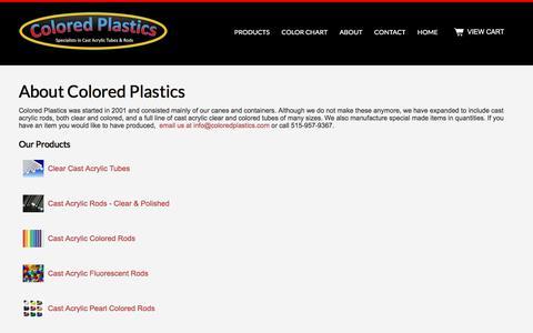 Screenshot of About Page coloredplastics.com - Colored Plastics - About Colored Plastics LLC - captured April 10, 2017