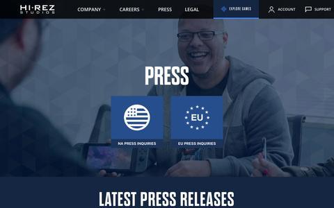 Screenshot of Press Page hirezstudios.com - Hi-Rez Studios || Press - captured Aug. 12, 2019