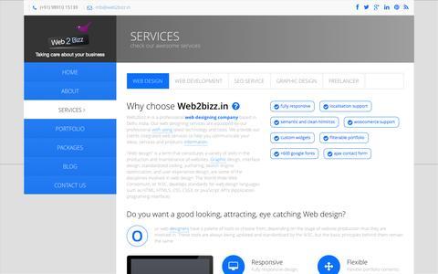 Screenshot of Services Page web2bizz.in - Web Design Services, Website Designing Company In Delhi, India Web Designer -web2bizz.in - captured Oct. 10, 2014