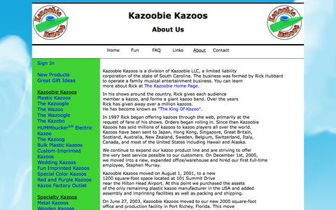 Screenshot of About Page kazoos.com - Kazoobie Kazoos - About Us - captured Oct. 6, 2014