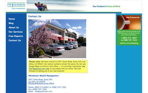 Screenshot of Contact Page pwjohnson.com - PWJohnson - Wealth Management - Contact Us - captured Oct. 1, 2014