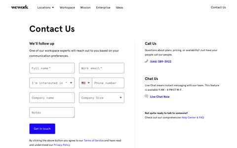 Screenshot of Contact Page wework.com - Contact Us - captured Aug. 20, 2019