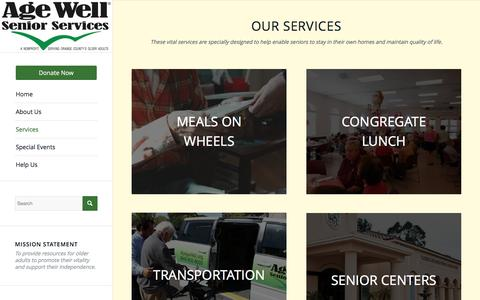 Screenshot of Services Page agewellseniorservices.org - Age Well Senior Services |   Services - captured Nov. 20, 2016