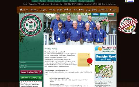 Screenshot of Privacy Page golfcamp.com - Privacy Policy   : Maine Golf and Tennis Academy - captured Oct. 4, 2014