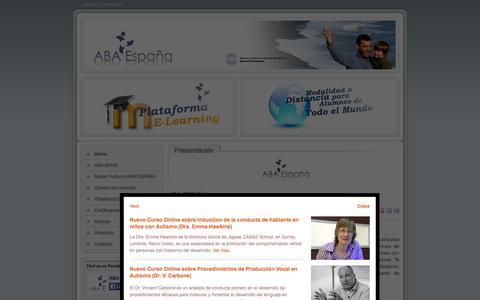 Screenshot of Home Page aba-elearning.com - ABA ESPAÑA - ABA ESPAÑA - captured Oct. 4, 2014