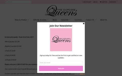 Screenshot of Pricing Page thecupcakequeens.com.au - Pricing - The Cupcake Queens - captured Oct. 21, 2018