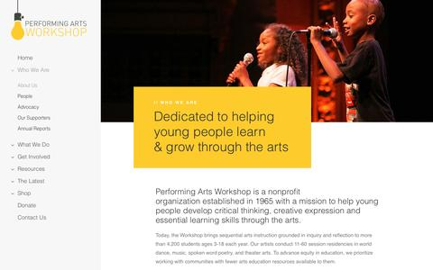 Screenshot of About Page performingartsworkshop.org captured May 16, 2017