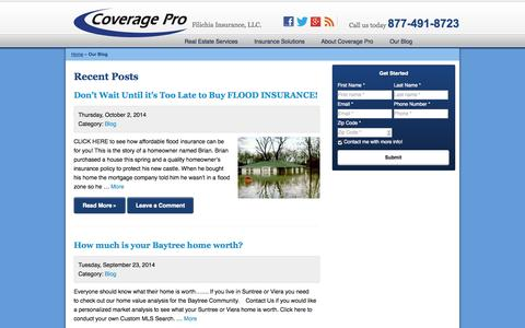 Screenshot of Blog mycoveragepro.com - Our Blog | Coverage Pro Insurance of Melbourne - captured Oct. 3, 2014